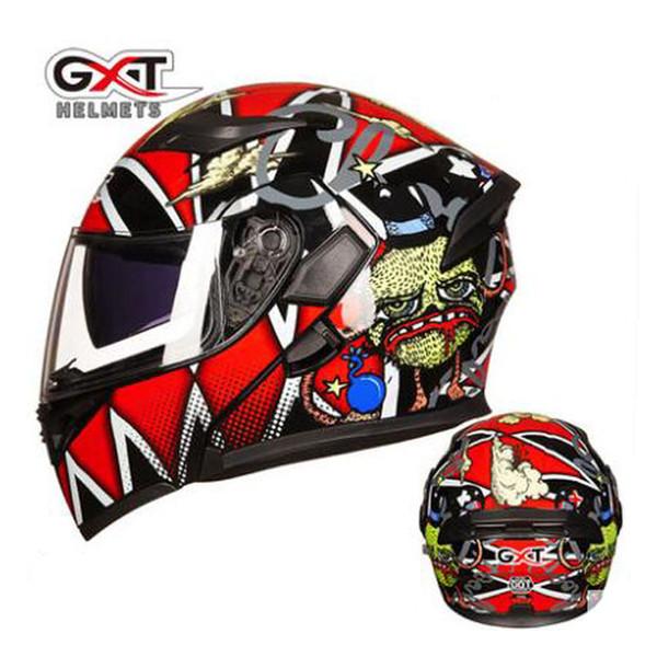 2019 new sell gxt flip up motorcycle helmets double lens anti-fog full face motorbike helmet racing casque dot certificate