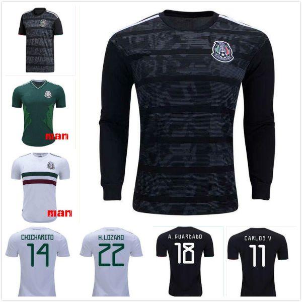 1 Yeni 2019 Meksika Altın Kupa Futbol Formaları Ev Siyah 19/20 CHICHARITO Hirving Lozano Camisetas de futbol G.DOS SANTOS VELA RAUL Gömlek