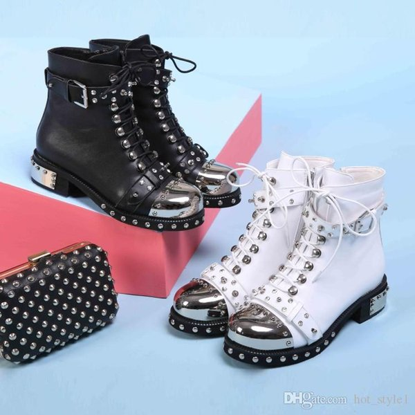 Metal Head Low Heel Flat Martin Boots Leather Buckle Rivet Motorcycle Boots Leather Large Size Women's Knight Boots Round Toe Side Zipper
