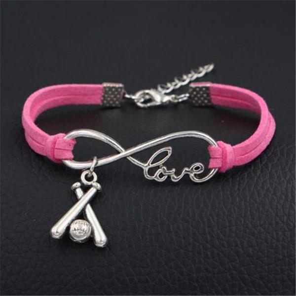Antique Silver Punk Love Infinity Baseball Ball Sport Team Bracelet Wrap Leather Bracelet Charm Bangle for Women Men Friendship Gift