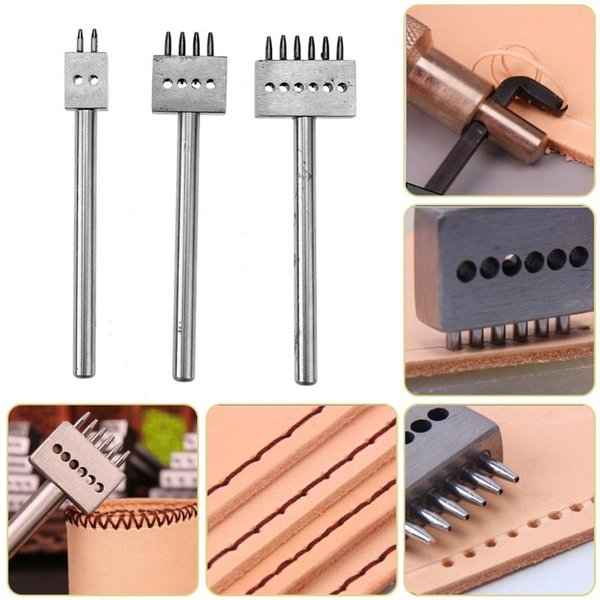 ome & Garden 3pcs set Skin Breakout Tools Craft 2 4 6 Prong Leather Punch Tool DIY Row Circular Cut Hole Stitched Hole Spacing Handmade T...