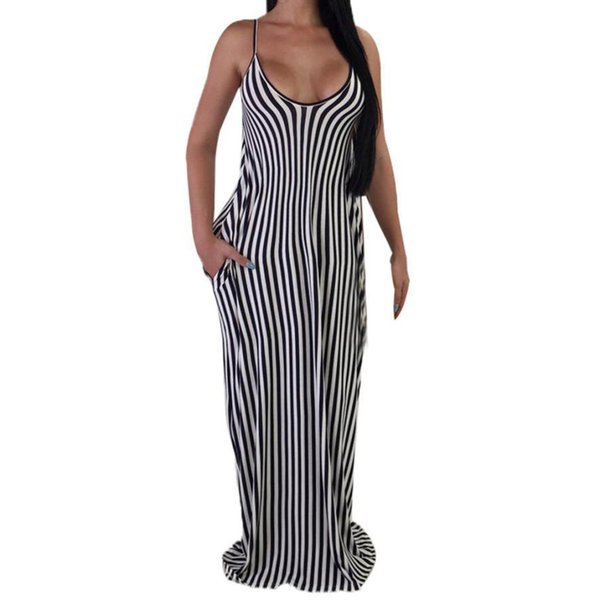 Women Long Maxi Formal Party Cocktail Striped Dress Prom Gown Dress Vestidos