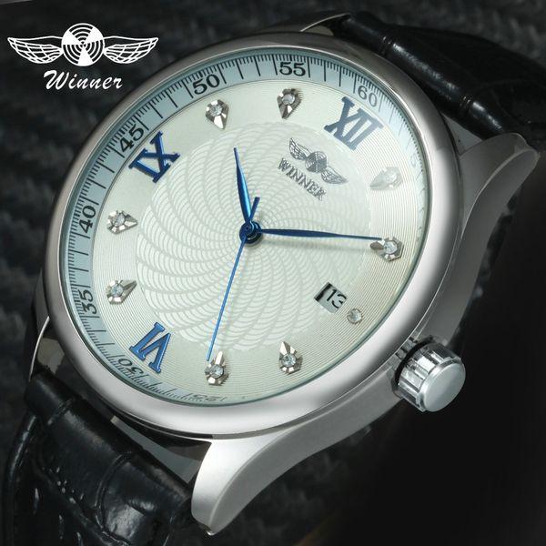 WINNER Top  Fashion Casual Mechanical Watch Men Leather Strap Unique Design Calendar Dial Classic Dress Wrist Watch