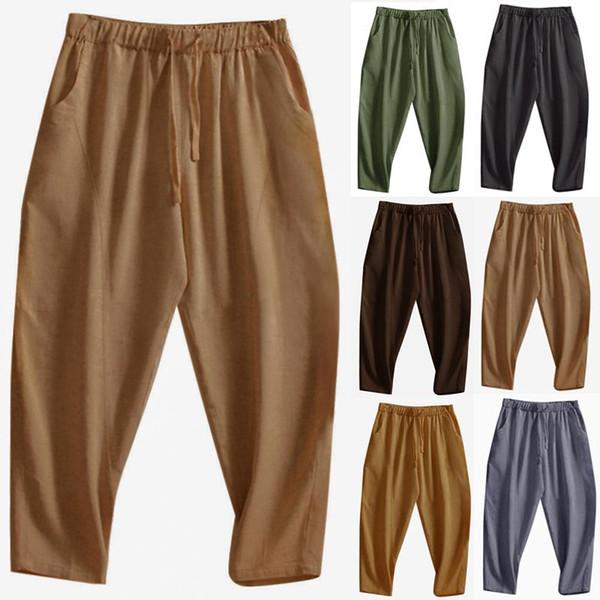 Vintage Men Harem Pants Joggers Cotton Pockets Hip-hop Loose Trousers Men Streetwear Drawstring Solid Fashion Casual Pants 2019