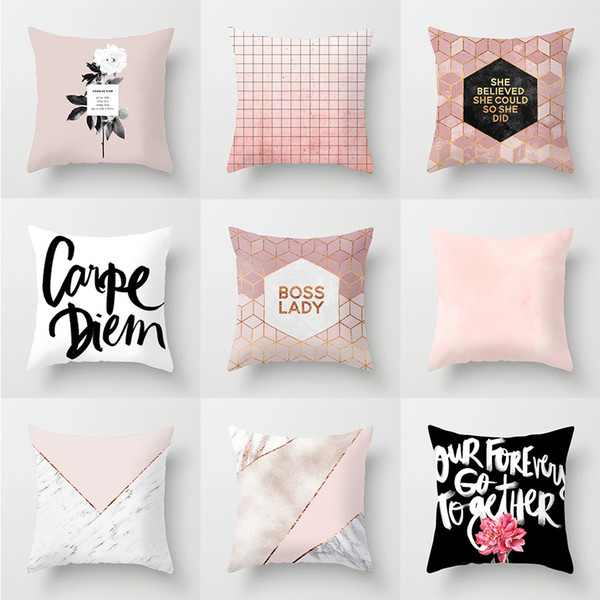 federa Il nuovo semplice divano geometrico Federa in poliestere rosa Home Office Fodera per cuscino Vendite dirette della fabbrica