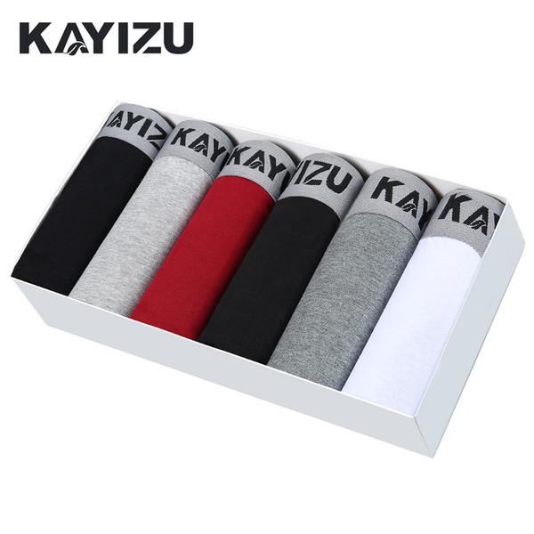 KAYIZU Panties Men 6pcs/lot Cotton Boxers Underpants For Men Underwear Breathable Boxer Shorts Men Boxer Sexy Mens Underwear Lot Y19042302