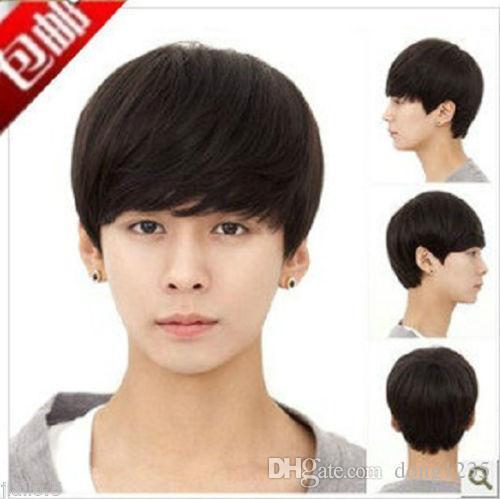 100% Brand New Yüksek Kalite Moda Resim tam dantel wigsHandsome boys peruk yeni Kore kısa Doğal siyah erkek erkek Cosplay peruk