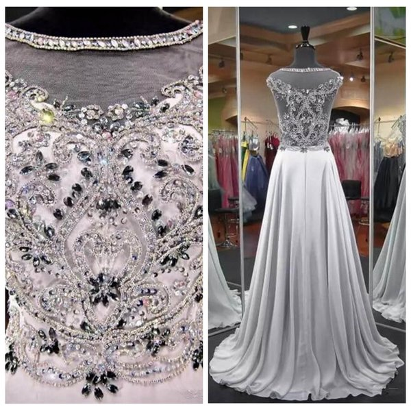 Sheer Beaded Crystal A-Line Prom Dresses 2020 Sweep Train Bling Bling Sleeveless Evening Party Gowns Celebrity Party Gowns