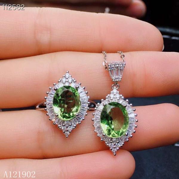KJJEAXCMY exquis bijoux en argent sterling 925 incrusté de pierres précieuses naturelles olivine femmes anneau collier pendentif costume support support detec