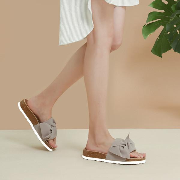 Hot Sale-2019 New Woman Fashion Summer Butterfly-knot Cork Slipper Sandals Women Casual Slides Beach Flip Flops Shoe Flat 35-41