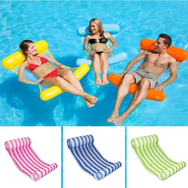 10 farben faltbare wasser hängematte mesh aufblasbare pool float luftmatratze strand bett toys lounge liegen auf schwimmen ring stuhl boia