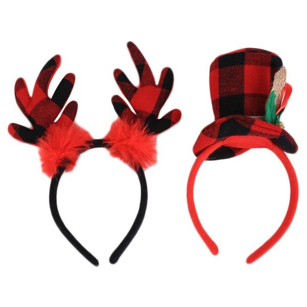 New Plaid Reindeer Antler Hair Hoop For Kids & Adult Christmas Hair Head Red Head Band Buckle Gift Party Decor Accessoreis