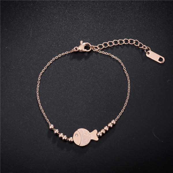 Korean fashion single layer clown fish bracelet, foot chain, titanium steel rose gold color gold do not fade bracelet ornaments