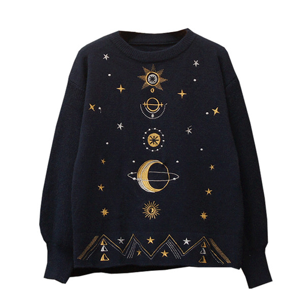 Sweater Winter Clothes Women 2019 Korean Knitted Embroidery Pullover Thick Warm Bottom Top Fashion Print Cute Sweater 07301LW872