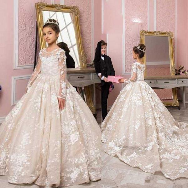 Vestidos de gala de lujo 2020 Vestidos de niña de las flores Manga larga Cuello de joya Vestidos de novia de niña Vestidos de comunión de encaje Vestidos Vestidos