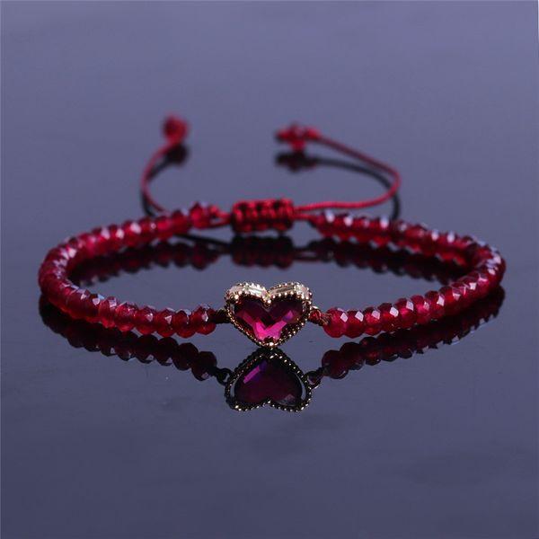 Moda Kristal Bilezik Doğal Taş Çok Yönlü Kırmızı Küçük Boncuk Kalp Charms Dokuma Bilezik El Yapımı Bilezik
