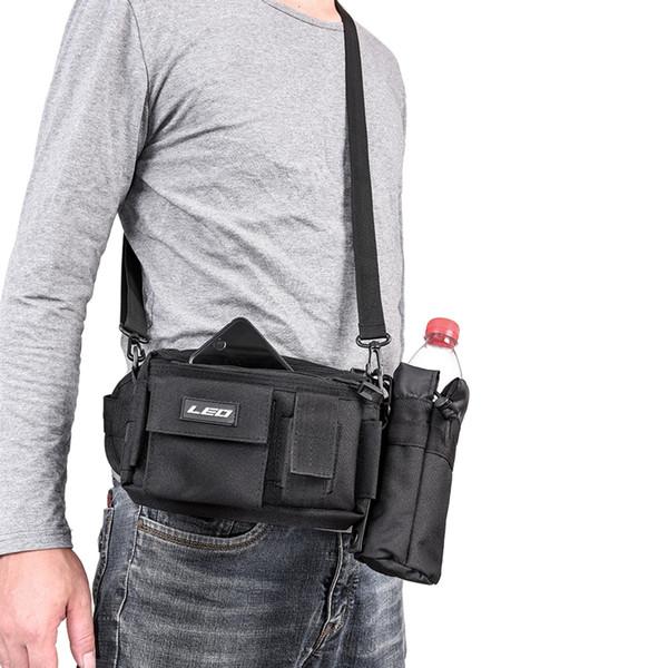 Multifunktionsfischerei Taille Packung Atmungsaktive Einzelumhängetasche Angelgerät Tasche mit abnehmbarer Wasserflaschentasche # 250748