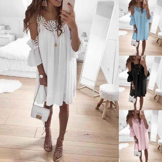 Womens Summer Dress donne sexy in pizzo cuciture spalle Strap Abito 2019 Nuovo stile europeo e americano 3 colori