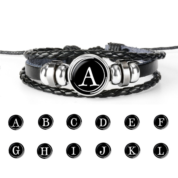 26 Initial Letter Charm Snap Button bracelets For women men Glass Cabochon Alphabet Braided leather Rope chains DIY Fashion Jewelry in Bulk