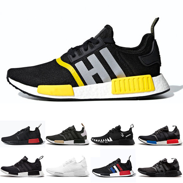 New Running shoes NMD R1 Primeknit Thunder Triple White Bee