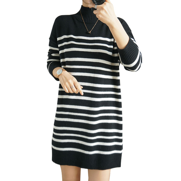 100% pure black and white striped women's cashmere sweater new mid-length sweater base shirt high collar casual knitted dress thumbnail