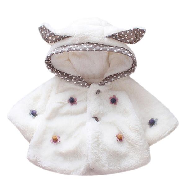 Bebek Çocuk Kız Ceket Kış Uzun Kollu Sıcak Tutmak Karikatür Kulak Villus vestido manteau fille casaco menina Lasten takki C3