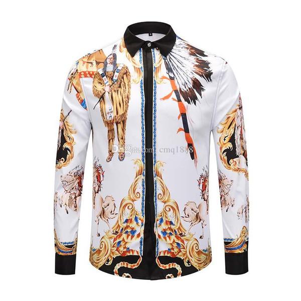Satın Al 2019 Yeni Varış Adam Moda Gömlek Desen Tasarım Uzun Kollu