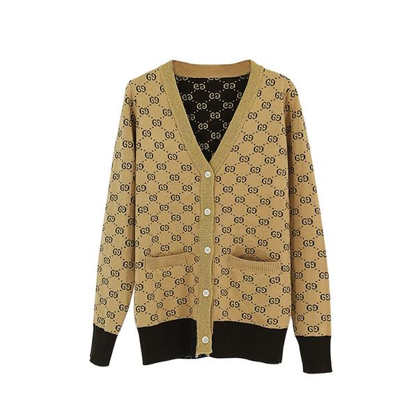2019 Early Spring Show G Letter Khaki V-neck Cardigan Shirt Fashion Casual Luxury Coat Female Women Designer Sweater Long Sleeve Size S-L