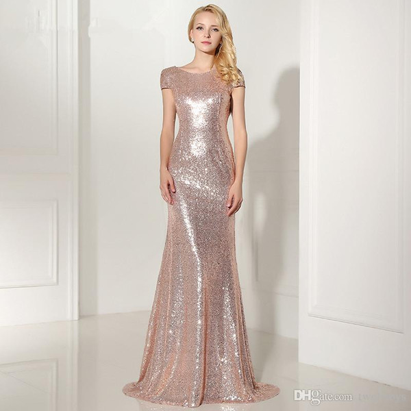 Sexy Backless Rose Gold Sequined Evening Dresses Cap Sleeves Mermaid Long Cheap Party Gown