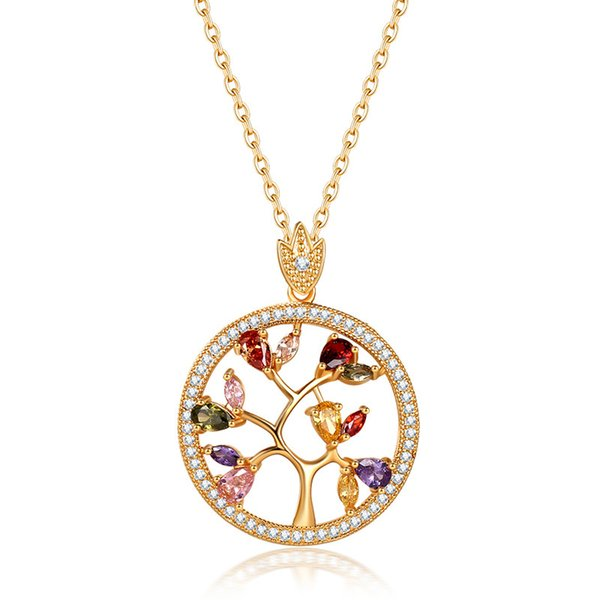 Luxury Designer Gold Goose Pendant Necklace For Women Fashion Colors Cubic Zirconia Tree Necklace Plated Religious Eye Jewelry