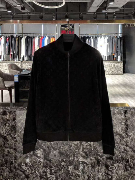 2019 fall and winter new mens designer luxury velvet fleece Color black and blue jacket Asian SIZE ~ tops high quality bomber jacket men