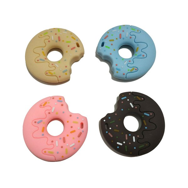 Donuts Silicone Teether Baby Teething Toy Beads DIY Chew Necklace Pacifier Chain