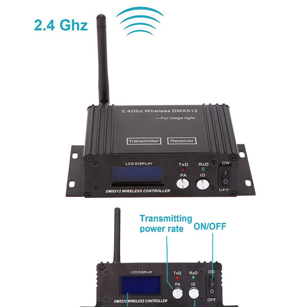 DMX512 Wireless Lighting Controller Trasmettitore Ricevitore Display LCD per lampada LED Controlli luce