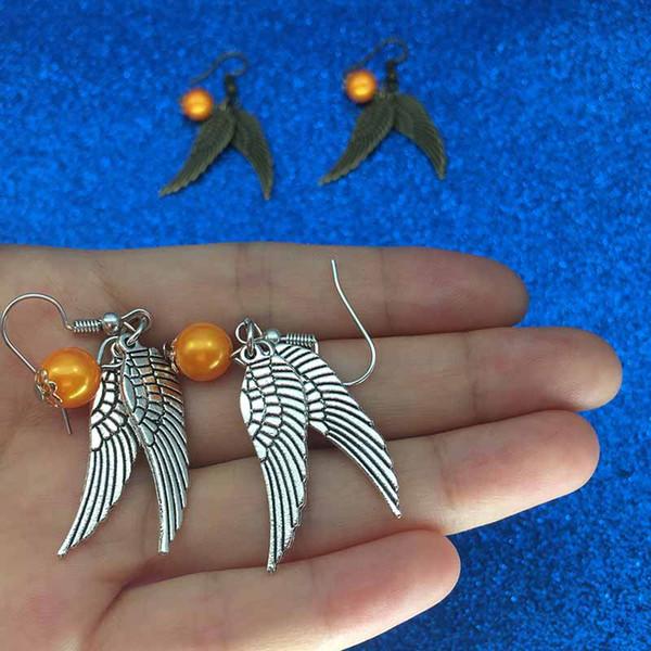 Harry Golden Snitch Earrings Drop Earrings Antique Bronze&Silver Wings for Women statement jewelry movie jewelry for fans Drop Ship 170250