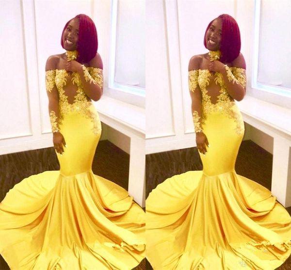 Compre Amarillo Negro Niñas Sirena Vestidos Largos De Fiesta Cordón Africano Fuera Del Hombro Mangas Largas Ver A Través Del Tren De Barrido Fiesta De
