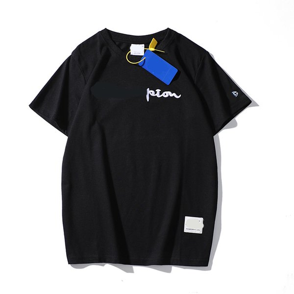 Letter Embroidery T-Shirts Summer Men Casual Loose O Neck Short Sleeve Hip Hop Black White Designer T-shirts
