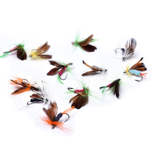 12pcs/lot Insect Fly Fishing Lures Artificial Fishing Feather Hooks Carp For Fishing Accessriose