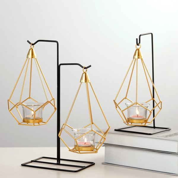 candle holders Geometric shape Candlestick Nordic Iron art chandelier Wedding Prop Home decoration metal Crafts living room Decoration