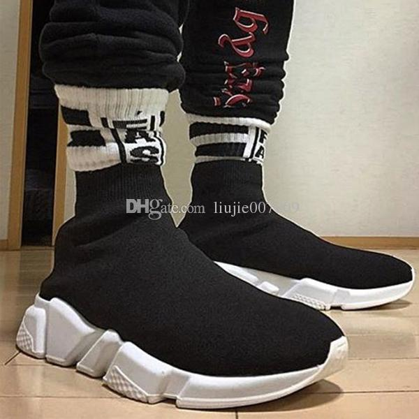 Level A Red Yellow Speed Trainer Casual Shoe Man Woman Sock Boots Stretch-Knit Casual Boots Race Runner Cheap Sneaker High Top