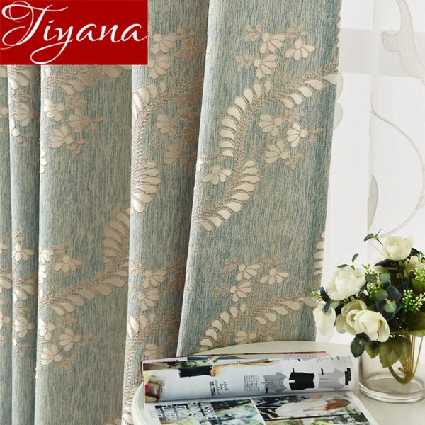American Country Curtain Blackout Jacquard Fabric Living Room Luxury Vine Design Embroidery Drape Tulle Curtain Window X623#30