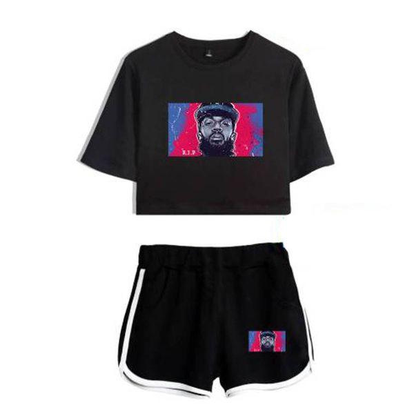 Nipsey Hussle Hip Hop Fashion Two Piece Set Women Sexy Casual Harajuku 2019 Pink Popular Shorts T-Shirt Top And Pants suit