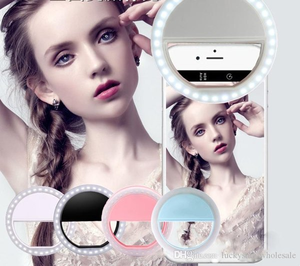 Free DHL External Battery Patent Portable Flash Led Camera Photography Selfie Ring Light for Smartphone include iPhone