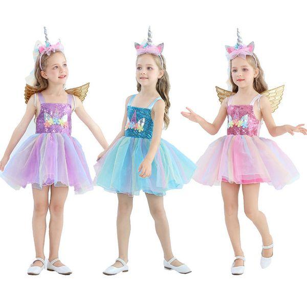 niñas al por menor del bebé del unicornio Appliqued flor vestidos de la princesa con los niños de las alas de Halloween Cosplay del vestido de fiesta de la ropa Disfraces