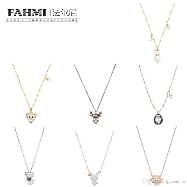 FAHMI LITTLE Cute Owl Cute Flying Pig Penguin Crystal Pearl Snowman Pendant Necklace Elk Puppy Playful Rabbit Clavicle Chain Rose