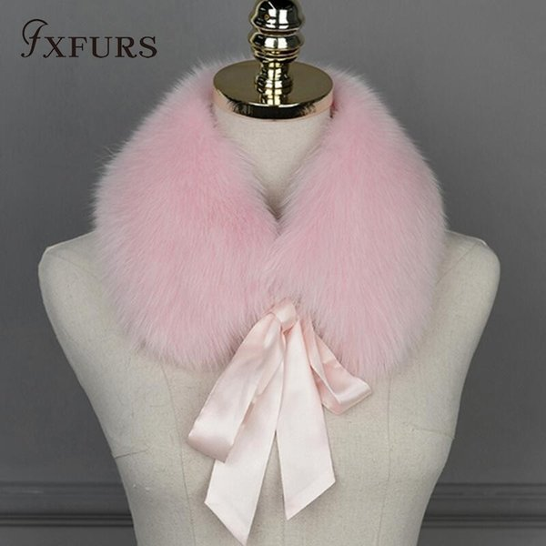 FXFURS 2018 New Fashion 100% Real Fox Fur Collar Scarves Wraps Women Winter Warm Fur Accessory Muffle Lovely Collar for Girl D19011004
