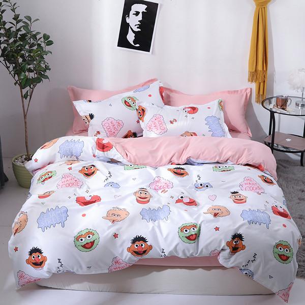 Sesame Street Housse de couette Literie lits jumeaux pleine Reine King Size enfants Cartoon lit blanc couverture Taies Feuille Linge de lit