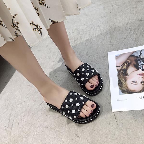 MUQGEW polka dot Women Ladies slippers Fashion String Bead Casual Beach Shoes Sandals Slippers women flat summer 2019
