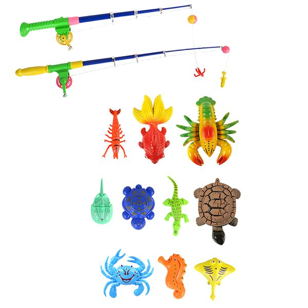 best selling 13 Pieces Fishing Toy Set, Magnetic Fishing Bath Toy, Pretend Play Toy for Kids Toddler
