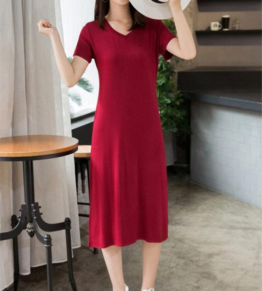 New famous fashion casual summer large size short sleeve V-neck bottom small black dress slim modal dress