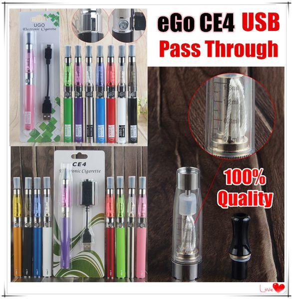 2019 eGo T CE4 Vape Pen Blister Pack Single Starter Electronic Cigarette Kits 650 900 1100 mAh UGO Micro USB Evod Pass Through 510 Battery